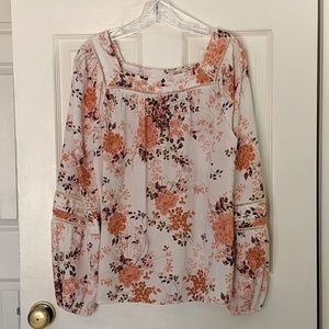 Lauren Conrad Square Neck Floral Peasant Top NWT